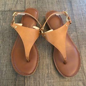 Kelly & Katie Cognac Vegan Leather Sandals